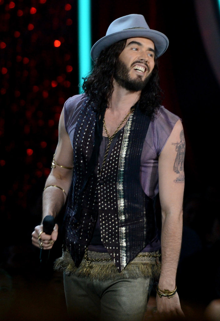 Russell Brand cracked jokes on stage.