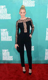 Elizabeth Banks wore a black jumpsuit for the MTV Movie Awards.