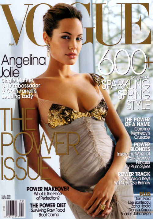Angelina Jolie showed some skin on the March 2004 cover of Vogue.