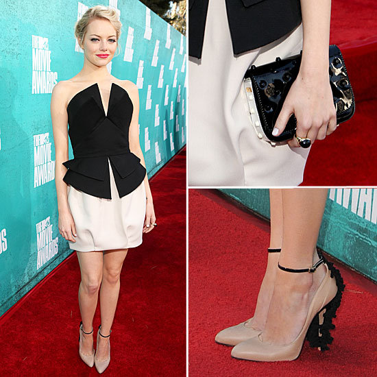 Pictures of Emma Stone in Martin Grant Peplum top and Skirt on the red carpet at the 2012 MTV Movie Awards: Rate it or Hate it?