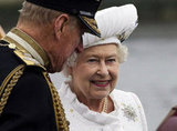The queen smiled with her husband, Prince Philip, during the Thames Diamond Jubilee Pageant.