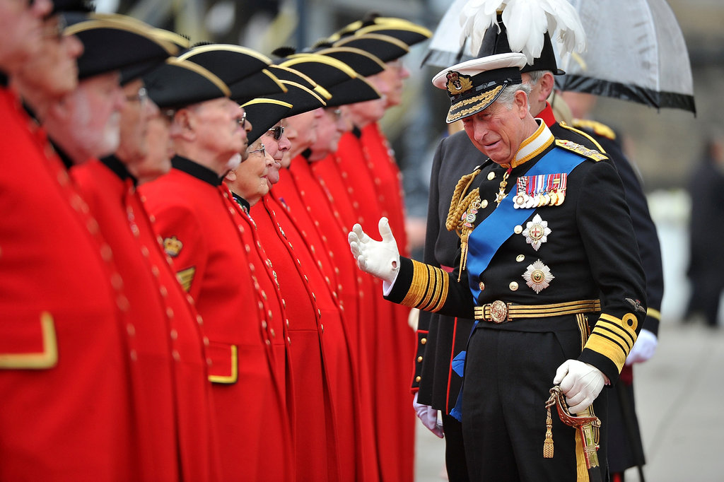 Prince Charles chatted with the pensioners at Chelsea Pier.