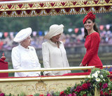 The queen, Camilla, and Kate shared a moment during the Thames Diamond Jubilee Pageant.