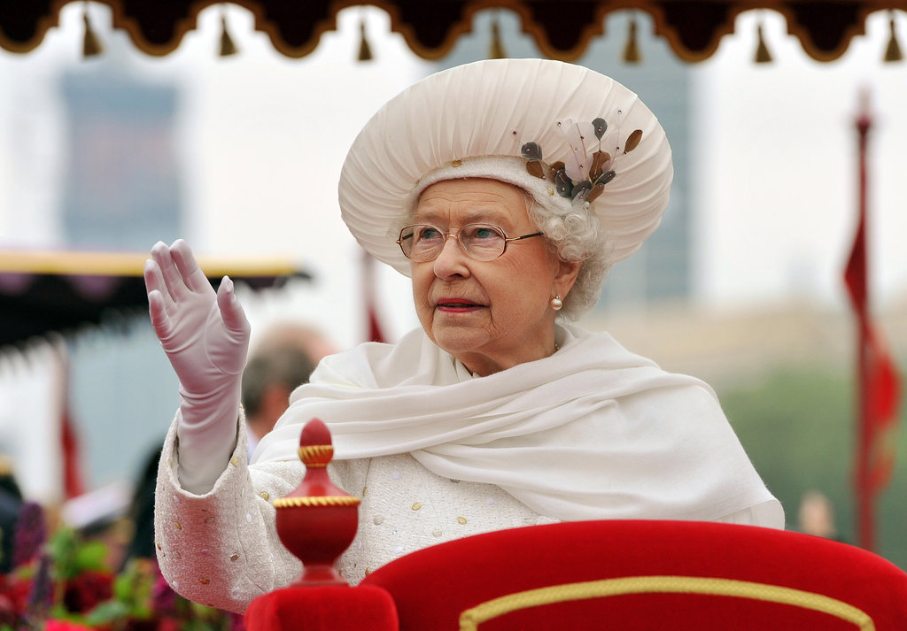 The queen waved aboard the Spirit of Chartwell, the royal barge.