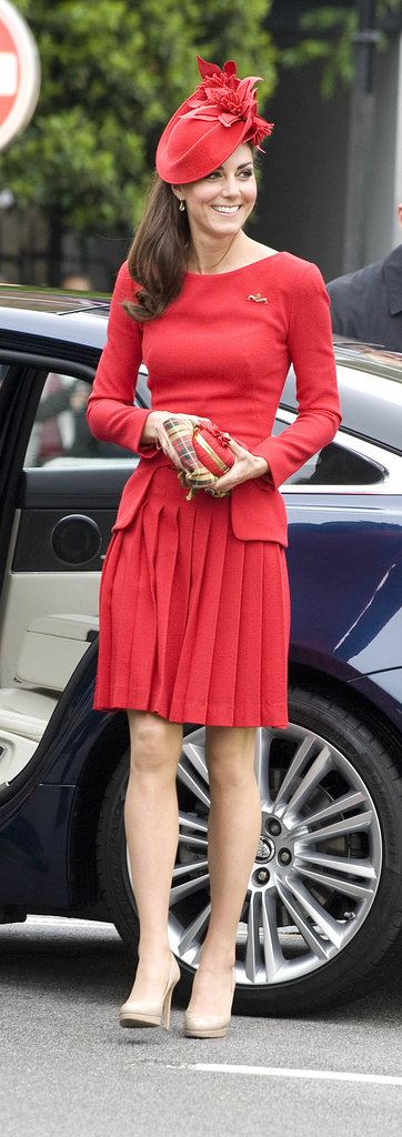 Kate topped her outfit off with a matching fascinator.