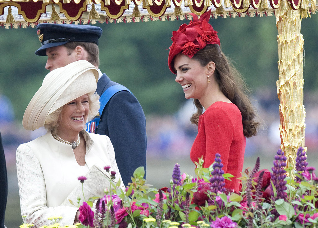 Kate Middleton laughed with Camilla, duchess of Cornwall at the Thames Diamond Jubilee Pageant.