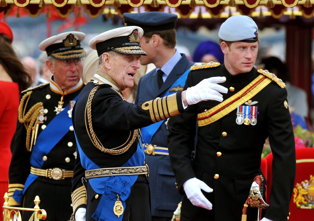 The royal men were dressed in their military best for the Thames Diamond Jubilee Pageant.