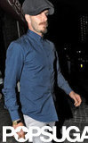 David Beckham walked out of a pub after dining with friends in London.