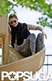 Gisele Bundchen took a ride on the slide.
