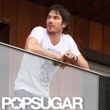 Ian Somerhalder hung out on the balcony in Rio.