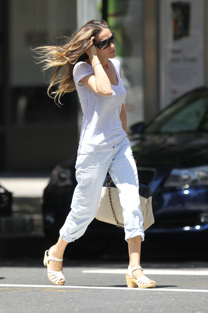 Sarah Jessica Parker wore cute shoes and sunglasses in NYC.