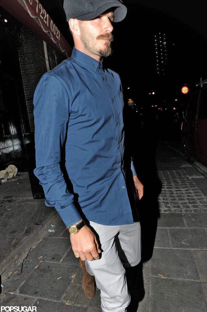 David Beckham hit the London streets for dinner with friends.