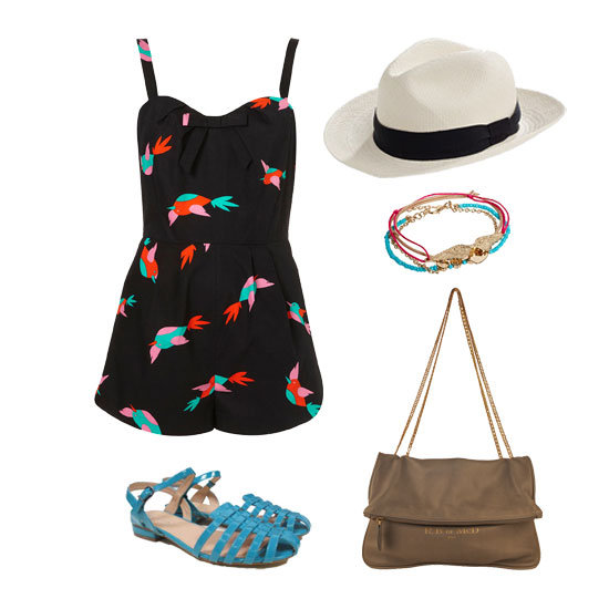 A bike ride on a warm day might be one of the cutest dates ever — remember that scene in The Notebook? Whether you're riding side by side, doing the tandem bike thing, or just sitting on his handlebars, a printed romper will look supercute while keeping you comfortable. Add a wide-brimmed hat for sun protection, a leather chain-strap crossbody bag, and a cute pair of huarache flats to complement your biker-chic ensemble. Get the look:  Topshop Big Bird Playsuit ($84) Madewell Biltmore Panama Hat ($58) River Island Friendship Bracelet Pack ($14) RB of McD #5 Crossbody Bag ($480) Marais USA Woven Sandal ($88)