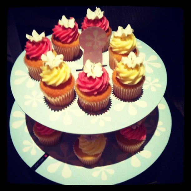 Bella ed Sarah was in cupcake heaven at the Elemis cleansing gel launch.