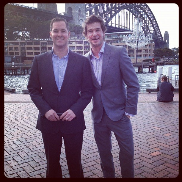 Our sales guys Chris and Eric looked liked well-dressed tourists before an Elizabeth Arden meeting.