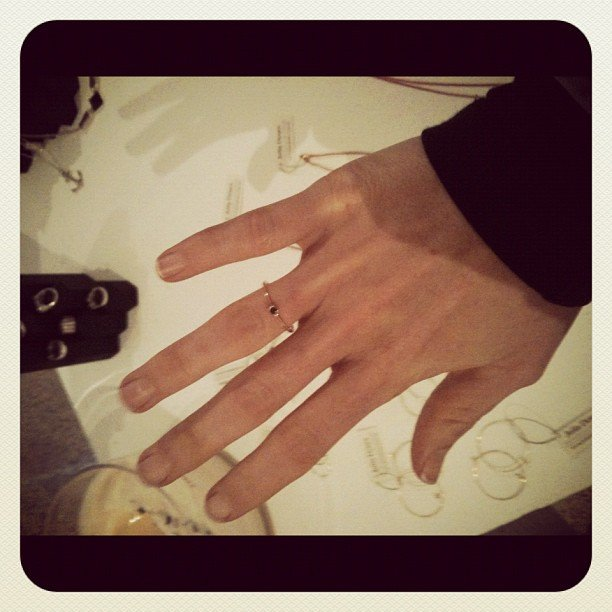Proving it's the small things, Fab ed Ali fell in love with a Julia Denes ring at the Door 121 S/S showing.