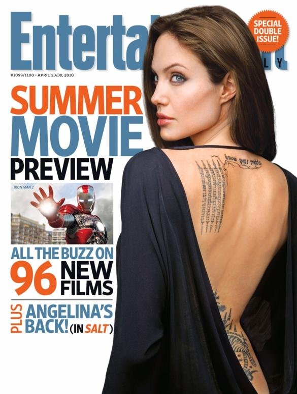 Once again, Angelina Jolie showed off her sexy tattoos on the April 2010 cover of Entertainment Weekly.