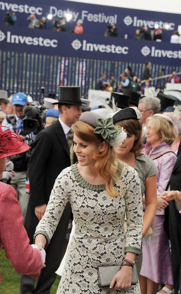 Princess Beatrice greeted people at the derby.