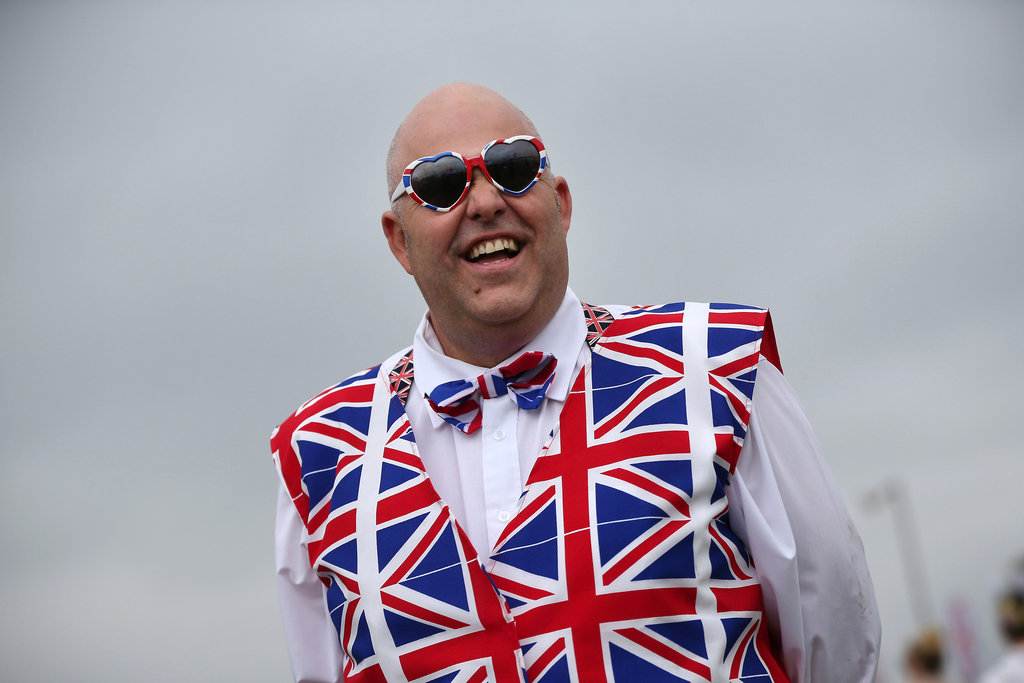 A man dressed in head-to-toe patriotic duds.