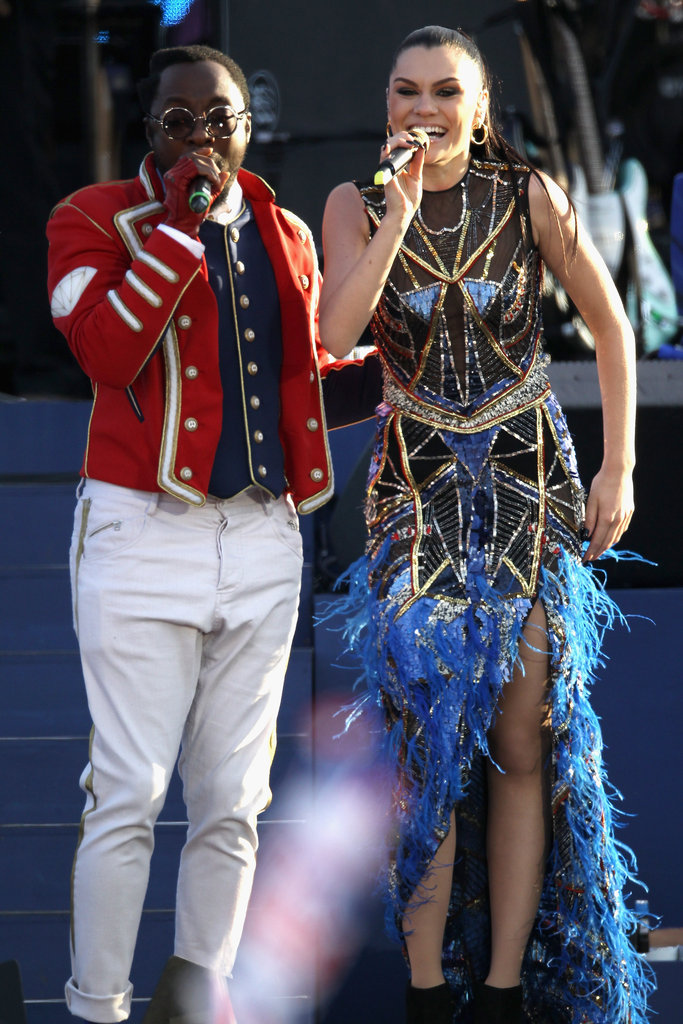 Will.i.am and Jessie J got together on stage for the Diamond Jubilee concert.