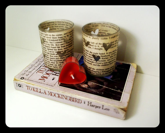 Book Page Candle Holders