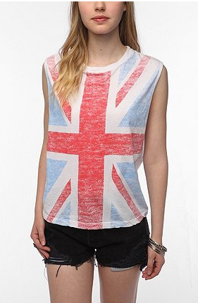 We love the idea of pairing this effortless Union Jack tee with louche silk trousers and a pair of sandals for a more elevated take on the tee.  Truly Madly Deeply Union Jack Muscle Tee ($29)