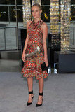 Kate Bosworth made a statement in a printed Altuzarra dress with a side cutout and black ankle-strap heels.