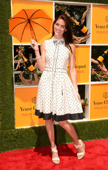 Hilary Rhoda chose a printed Fendi shirtdress and cute white espadrille wedges by Stuart Weitzman for the Veuve Clicquot Polo Classic.