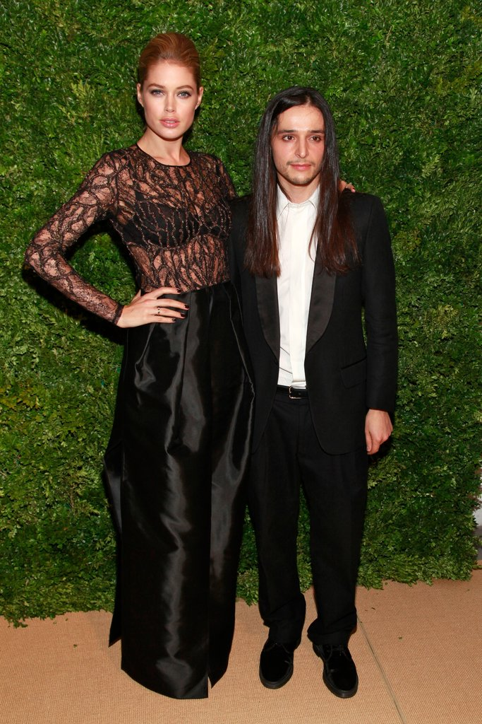 Doutzen Kroes with Olivier Theyskens at the eighth annual CFDA/Vogue Fashion Fund Awards in New York in November 2011.