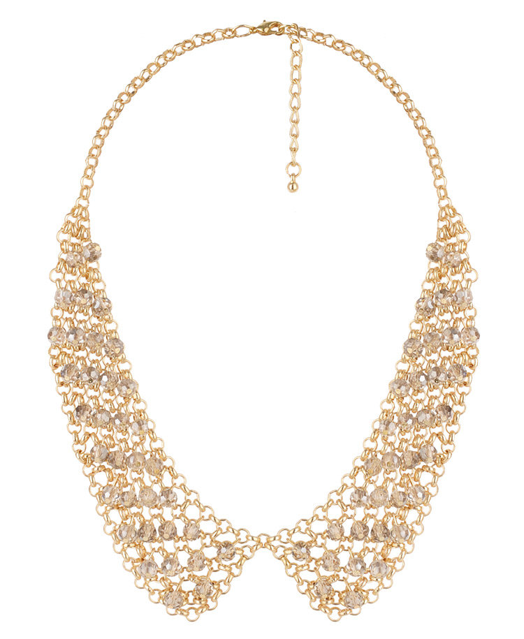 A more literal interpretation of the collar necklace, we think this beaded iteration is totally ladylike and would look perfect underneath a collared blouse or shirtdress. Forever 21 Beaded Collar Necklace ($15)