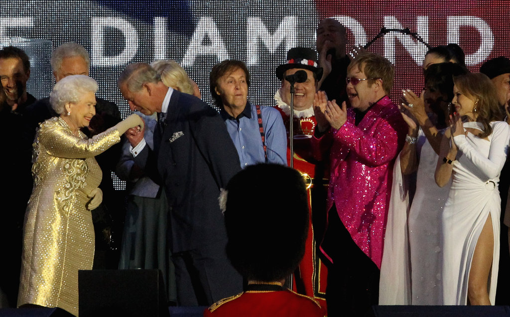 The queen and her son, Prince Charles, had a sweet moment at the Diamond Jubilee Concert at Buckingham Palace.