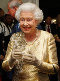 The queen looked gleeful at the Diamond Jubilee Concert at Buckingham Palace.