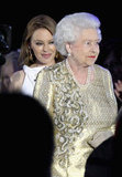 The queen stood near Kylie Minogue at the Diamond Jubilee Concert at Buckingham Palace.
