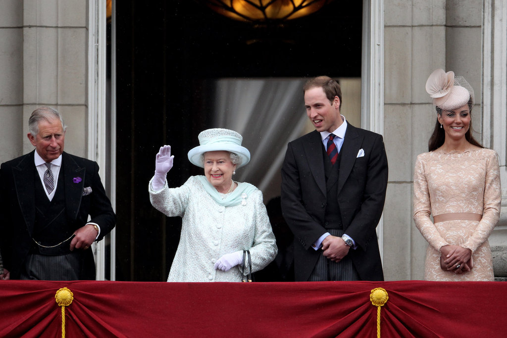 The queen and her family waved to people from the balcony of Buckingham Palace.