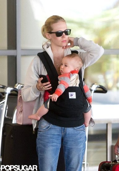 January Jones Has a Traveling Companion in Baby Xander