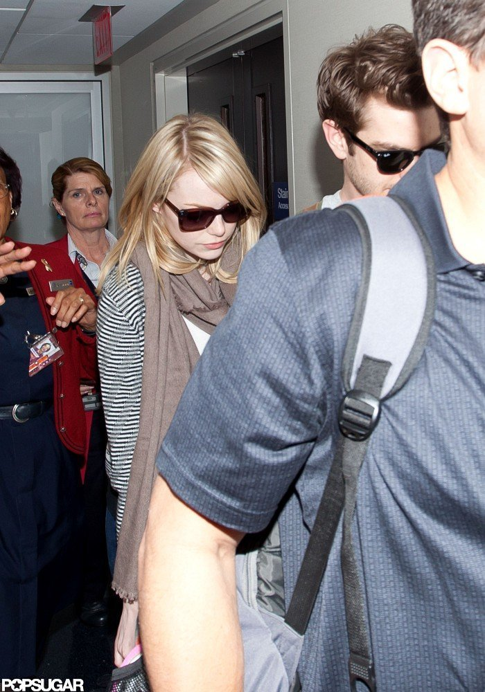 Emma Stone wore sunglasses at LAX.