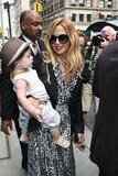 Rachel Zoe was a happy mom with baby Skyler in her arms as they left the Trump SoHo in NYC.
