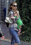 Natalie Portman carried Aleph in an adorable green outfit leaving a friend's house in LA in Septmeber 2011.