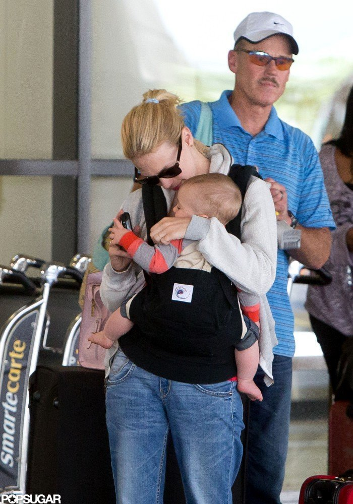 January Jones gave Xander a kiss at LAX.