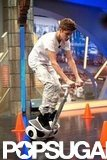 Justin Bieber rode a scooter on El Hormiguero.