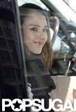 Jessica Alba smiled as she got into the car in NYC.
