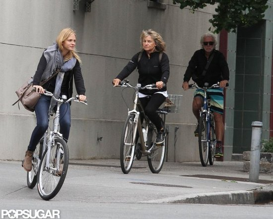 Erin Heatherton wore jeans and a big scarf while biking around NYC.
