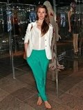 Elettra Wiedemann was the picture of vacation-perfect — we love the juxtaposition of bright green pants against a chic white blazer.