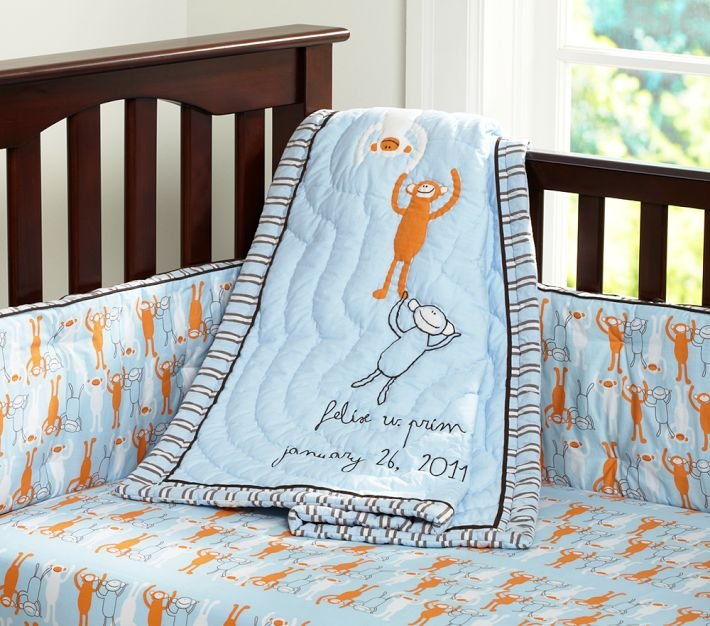 Pottery Barn Kids Monkey See, Monkey Do Crib Bedding ($14, originally $19, and up)