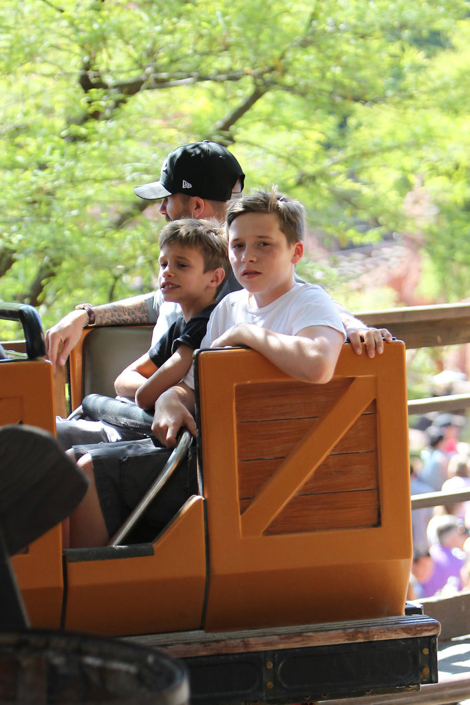 Brooklyn Beckham and Romeo Beckham were accompanied by dad David Beckham on a ride at Disneyland.