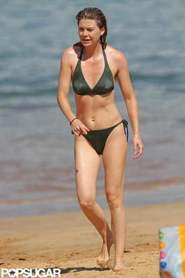Ellen Pompeo Breaks Out Her Bikini For Beach Fun With Stella
