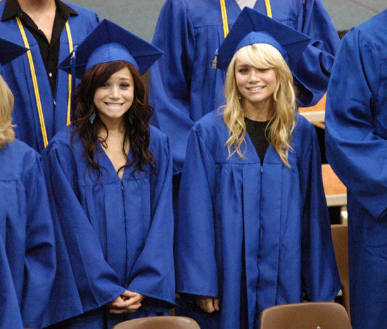 Mary-Kate Olsen and Ashley Olsen donned caps and gowns at their graduation from LA's Campbell Hall in 2004.