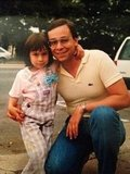 """With my dad, circa 1986. He had just won me the bow that I clipped so stylishly to my Osh-Kosh overalls. Twenty-five years later, he still wears a lot of Lacoste shirts and jeans, though these days I think that he definitely opts for a more 'relaxed' fit."" — Lisa Horten, LilSugar associate editor"