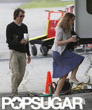Kate Winslet had a visit from her boyfriend Ned Rocknroll on the rainy set of Labor Day.