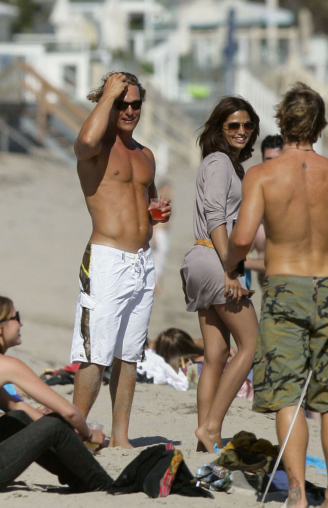 Camila Alves and Matthew McConaughey hung out with friends on the beach in Malibu in June 2007.